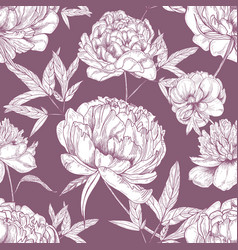 natural seamless pattern with tender peony flowers vector image