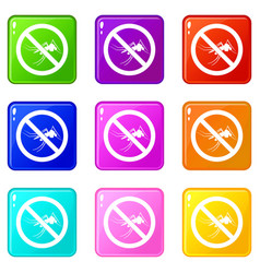 no mosquito sign icons 9 set vector image
