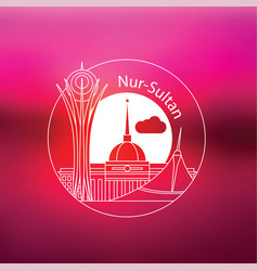 nur-sultan detailed silhouette vector image