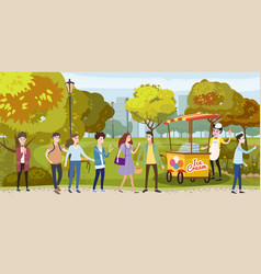 park cart and ice cream seller happy people vector image