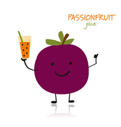 Passion fruit cute character for your design vector