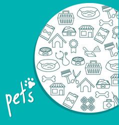 pets shop set icons vector image