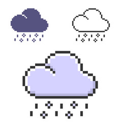 pixel rain with hail in three variants fully vector image