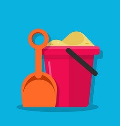 plastic bucket and shovel children set for vector image