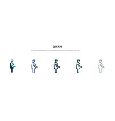 Qiyam icon in different style two colored vector