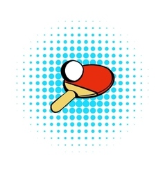 Racket for playing table tennis icon comics style vector