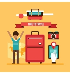 Ready for summer vacation Man with travel bag vector image
