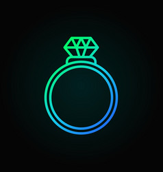 Ring with diamond blue icon engagement vector