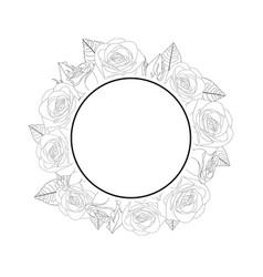 rose flower banner wreath outline vector image