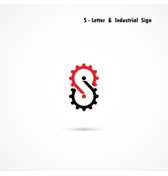 S-letter and gear icon design vector image