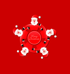 santa claus carrousel with merry christmas vector image