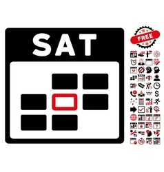 Saturday Calendar Grid Flat Icon With Bonus vector