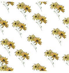 seamless background with abstract summer flowers vector image