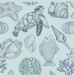 Seamless pattern with shells fish corals turtle vector