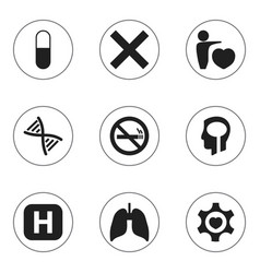 set of 9 editable hospital icons includes symbols vector image