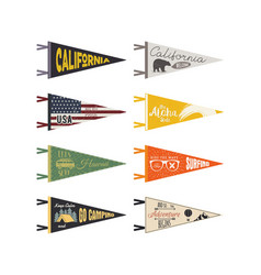 Set of adventure pennants pennant explore vector