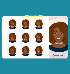 set of black woman expressionbusinesswoman vector image