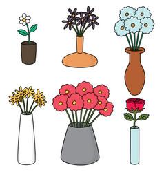 set of flower vase vector image