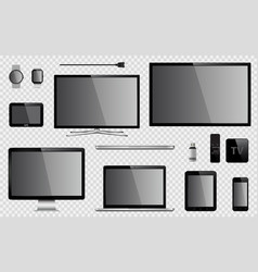 set of realistic tv computer monitor laptop vector image
