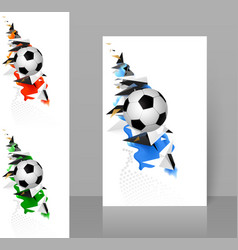 set three banners with white and black soccer vector image
