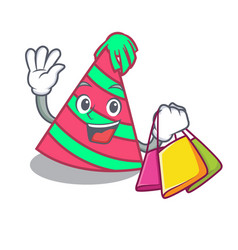 Shopping party hat character cartoon vector