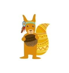 Squirrel Wearing Tribal Clothing vector image