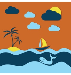 summer with whale and boat vector image