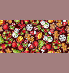 sweet merry christmas seamless pattern cute vector image