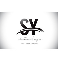 Sy s y letter logo design with swoosh and black vector