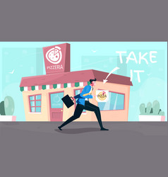 Take away pizza composition vector