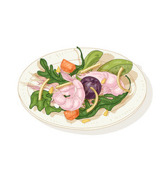 Tasty salad with seafood and vegetables on plate vector