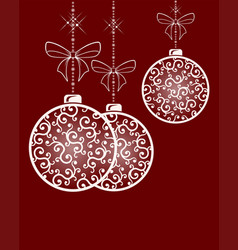 three christmas balls with ornament in retro style vector image