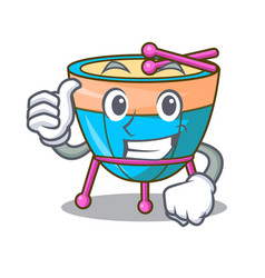 Thumbs up cartoon timpani in the orchestra group vector