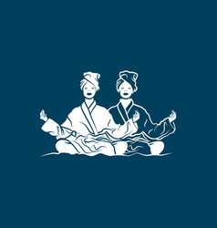 two girls in lotus position meditate in bathrobe vector image