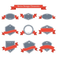 vintage set of labels with ribbons vector image
