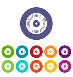 vinyl record icons set color vector image