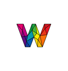 W colorful low poly letter logo icon design vector