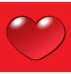 Water Heart Drop on red background vector image