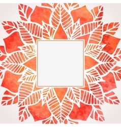 Watercolor red frame with floral pattern vector image