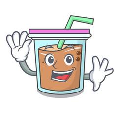 Waving bubble tea character cartoon vector