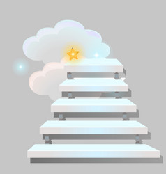 White stair leading into the clouds isolated on vector