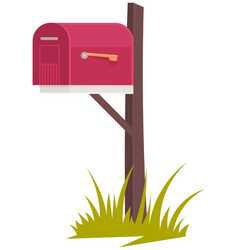 wooden post with closed mailbox postal container vector image