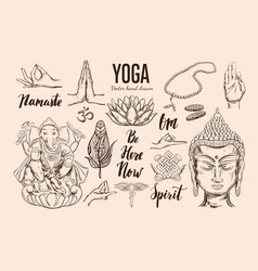 Yoga set isolated hand drawn vector