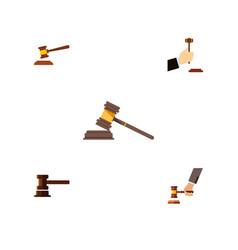 flat icon hammer set of court hammer government vector image vector image