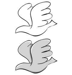 set Pigeon Black outline and painted vector image vector image