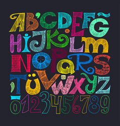 sketched grunge alphabet and numerals vector image