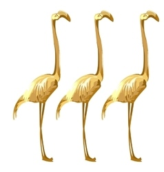 Three Golden birds flamingos on a white background vector image vector image