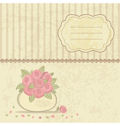 Vintage background with basket of roses vector image vector image
