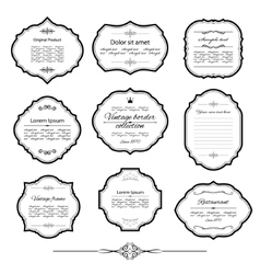 Vintage frame set isolated on white vector image vector image