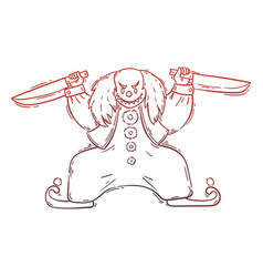 Angry evil clown with a bloody knifes vector
